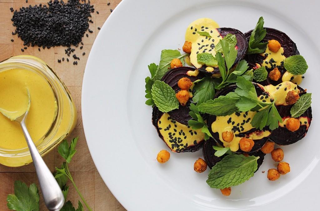 Roasted Beet Salad with Tahini Dressing