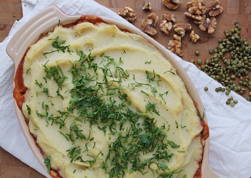 Vegan Shephard's Pie with Cauliflower & Parsnip Topping