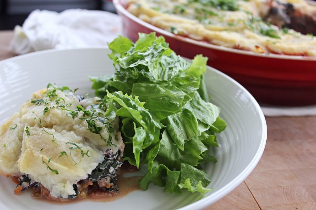 Vegan Shephard's Pie with Cauliflower & Parsnip Topping