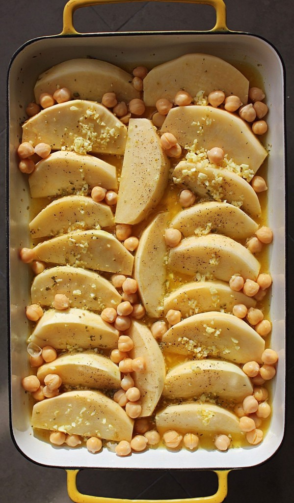 Greek Lemon-Roasted Rutabaga with Chickpeas