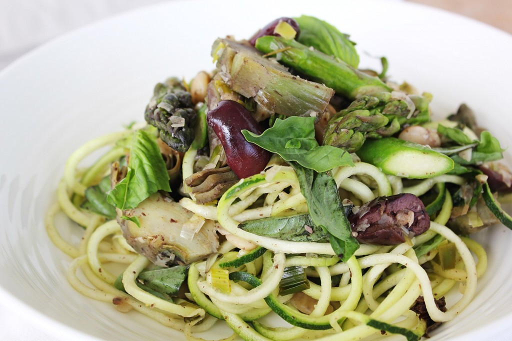 Fresh Artichoke & Asparagus Pasta with Butter Beans & Olives