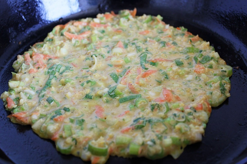 Gluten free Asian Pancake with Cucumber Sesame Salad