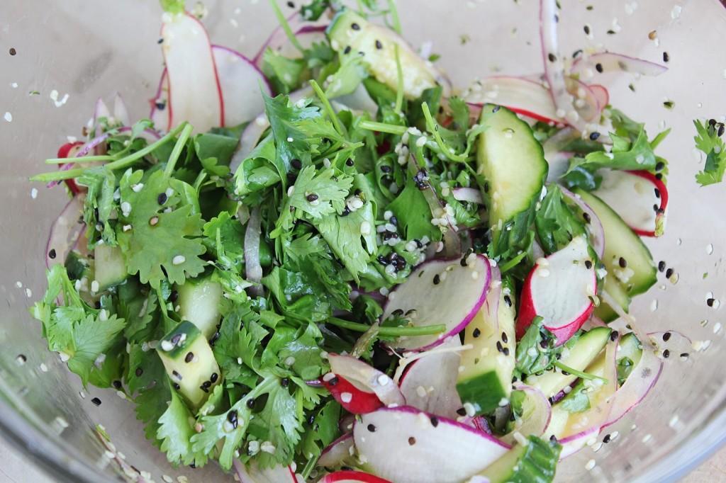 Gluten free Asian Pancake with Cucumber Sesame Salad