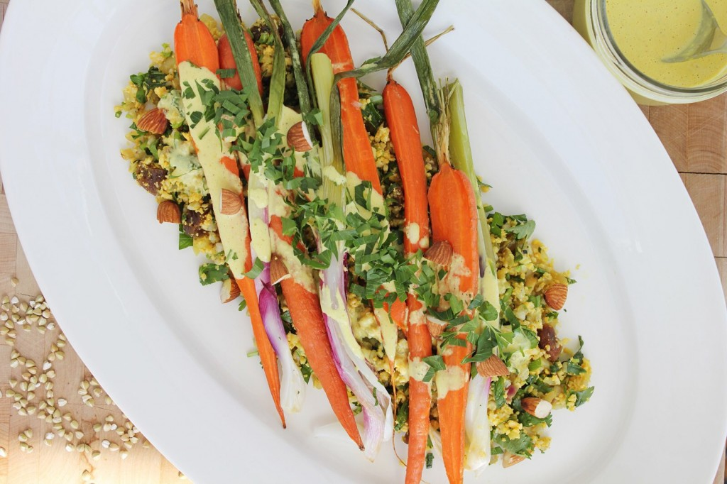 Cauliflower Cous cous with Roasted Carrots