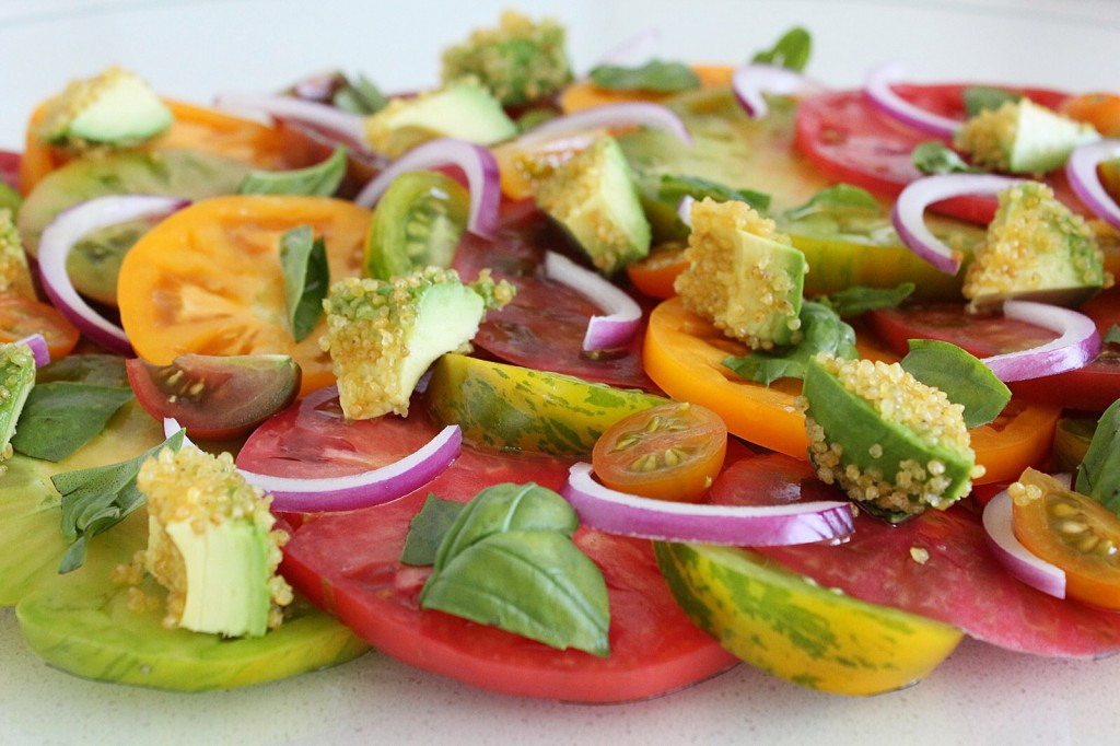 Heirloom Tomato Salad with Garlicky Millet & Avocado Croutons