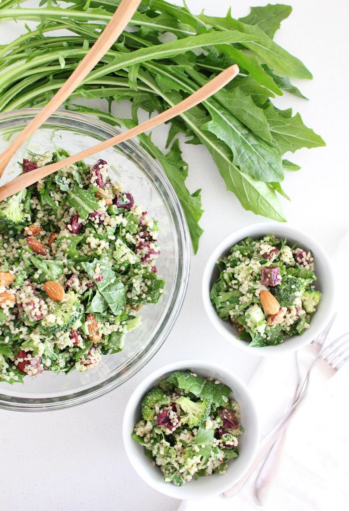 Quinoa Salad with Dandelion Greens and Dill