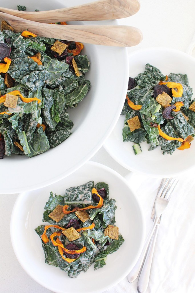 Kale Salad with Veggie Chips and Walnut Croutons