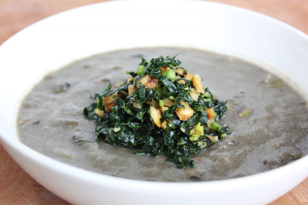 Mushroom & Lentil Soup with Lemony Massaged Kale