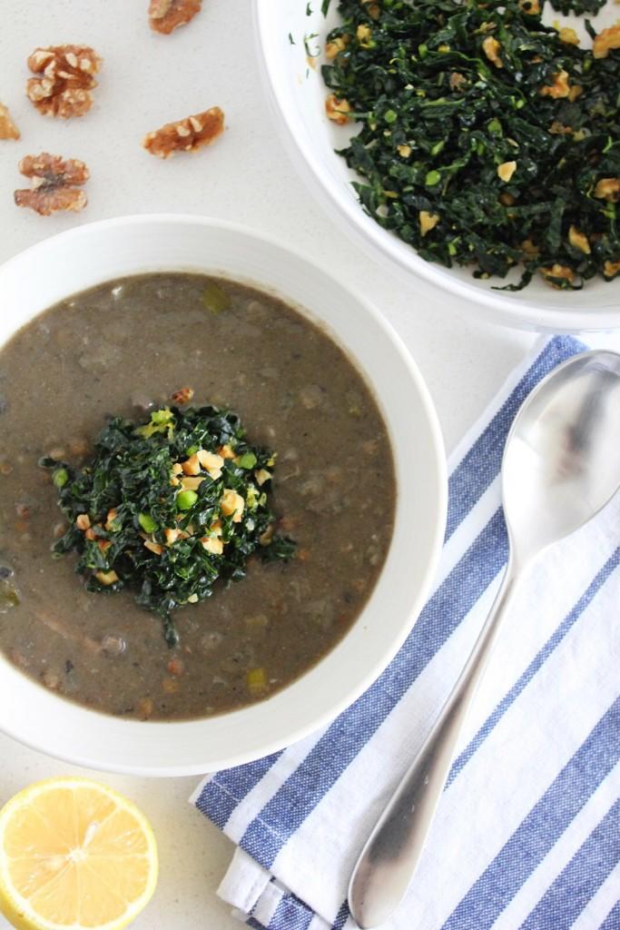 Mushroom & Lentil Soup with Lemony Massaged Kale