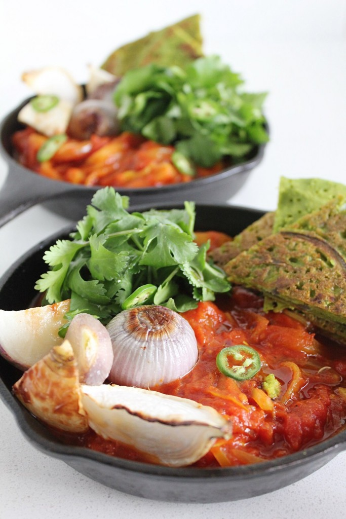 Vegan Shakshouka with Green Chickpea Pancakes