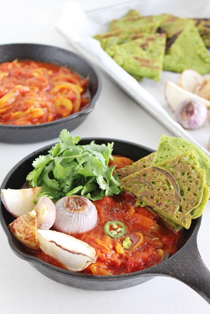 Vegan Shakshuka with Green Chickpea Pancakes
