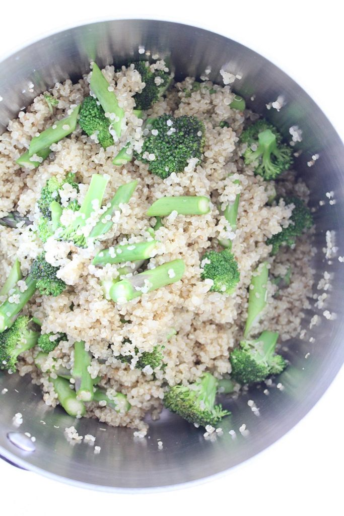 Quinoa Salad with Green Veggies & Macadamia Nut Feta