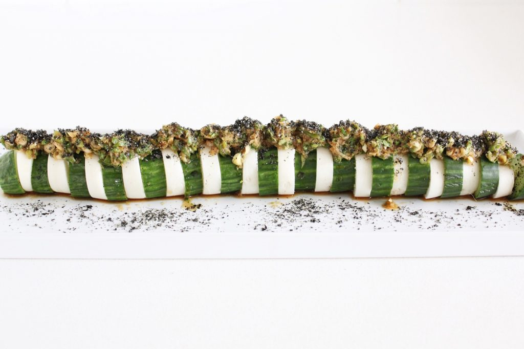 Asian Cucumber and Daikon with Sesame Nori Dust
