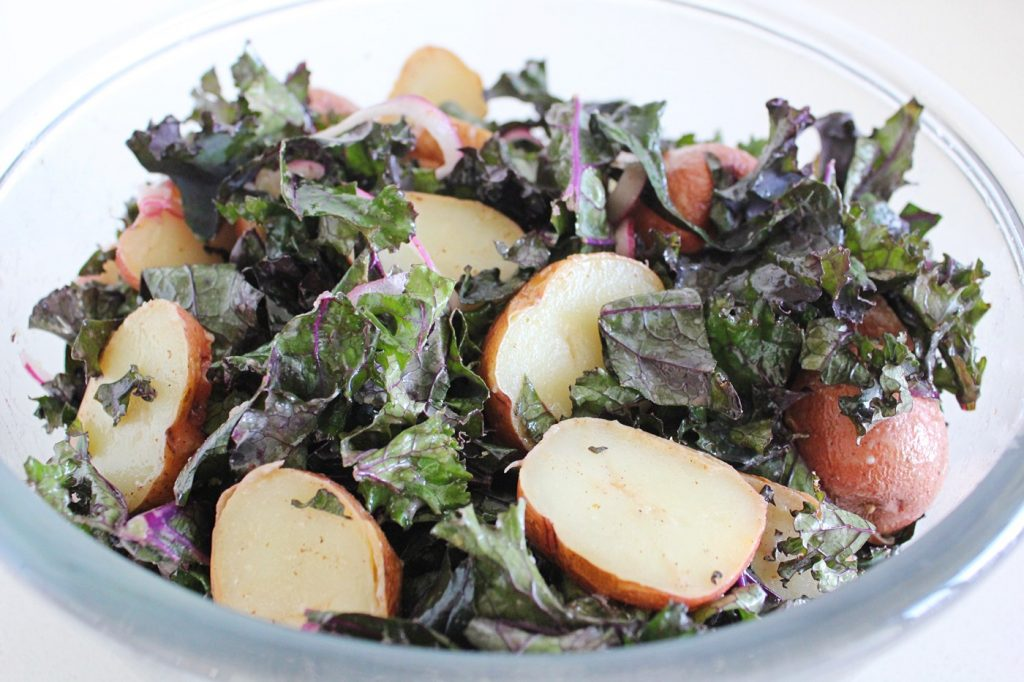Baked Potato and Kale Salad