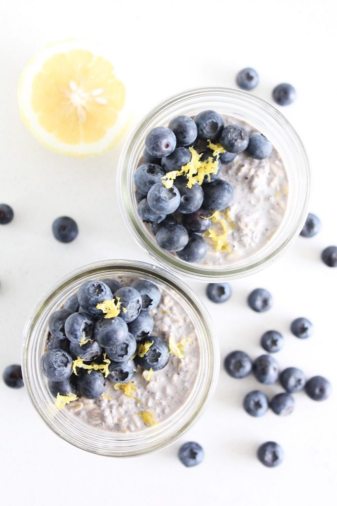 Lemon Blueberry Overnight Chia Oats