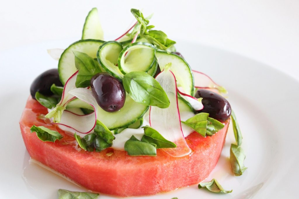 Watermelon and Cucumber Salad with Coconut Yoghurt