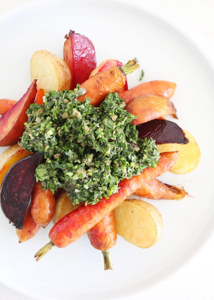 Roasted Veggies with Italian Salsa Verde