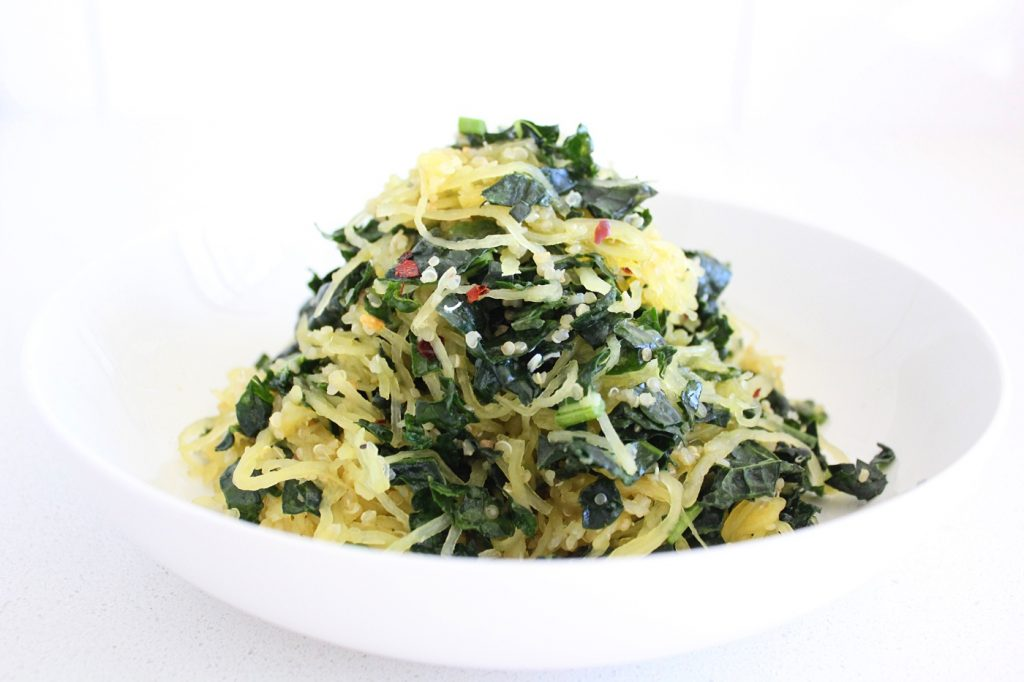 Garlicky Kale and Spaghetti Squash Pasta