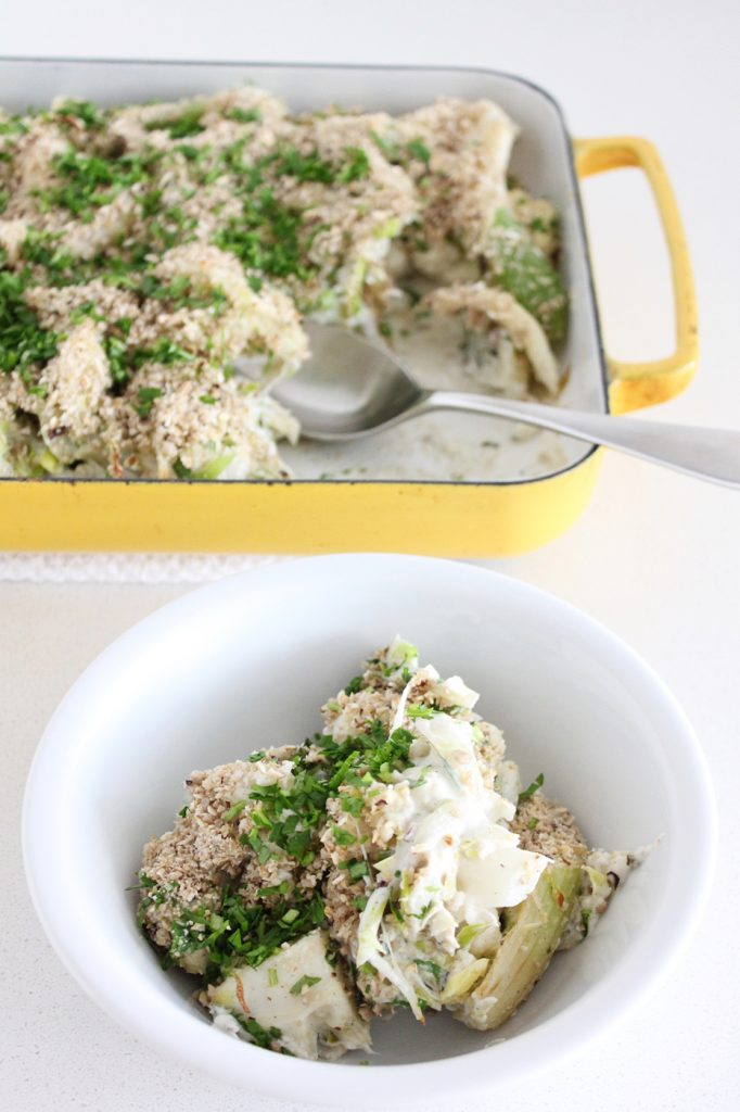 Creamy Cauliflower and Celery Gratin