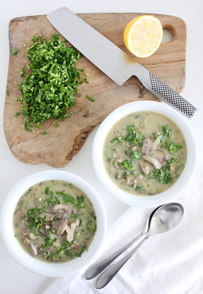 Cream of Mushroom Soup with Wild Rice
