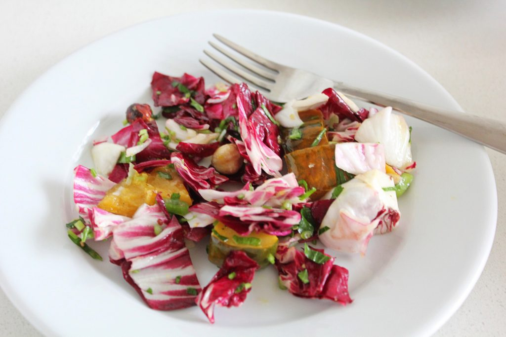 Radicchio Salad with Roasted Acorn Squash and Hazelnuts