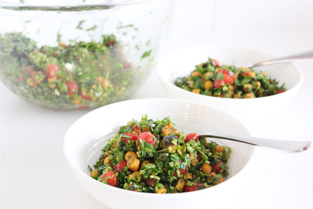 Roasted Chickpea & Eggplant Tabouli