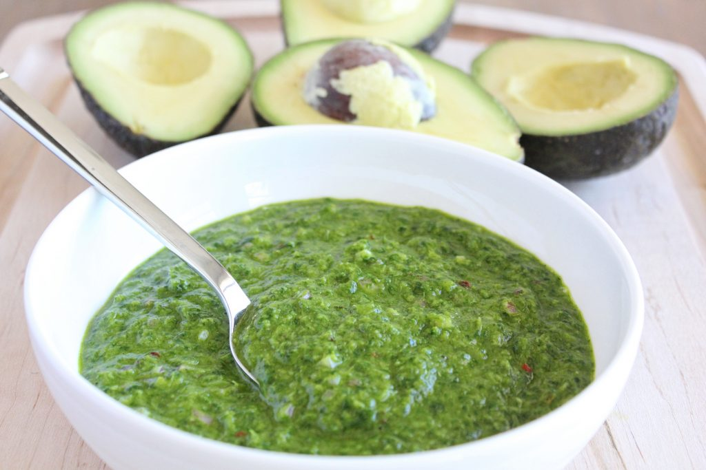 Fresh Chimichurri Sauce with Avocado Wedges