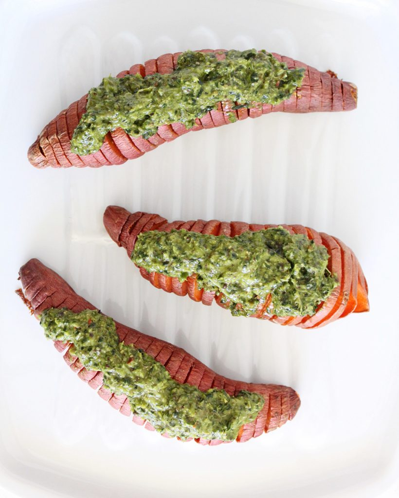 Hasselback-ed Sweet Potatoes with Kale Pesto