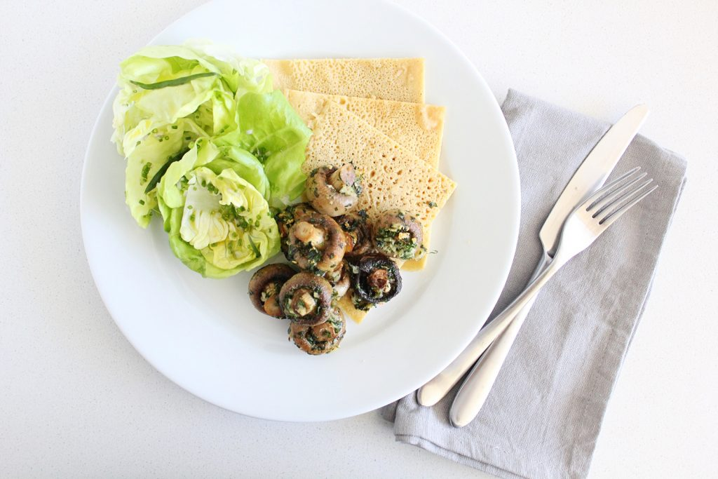 Plant-based 'Escargot' with Butter Lettuce Salad and Chickpea Pancakes