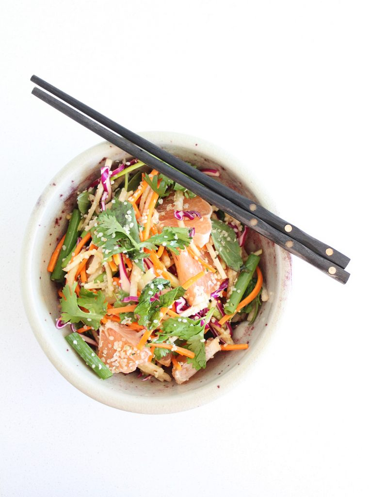 Crunchy Vietnamese Jicama & Cabbage Salad with Grapefruit and Fresh Herbs