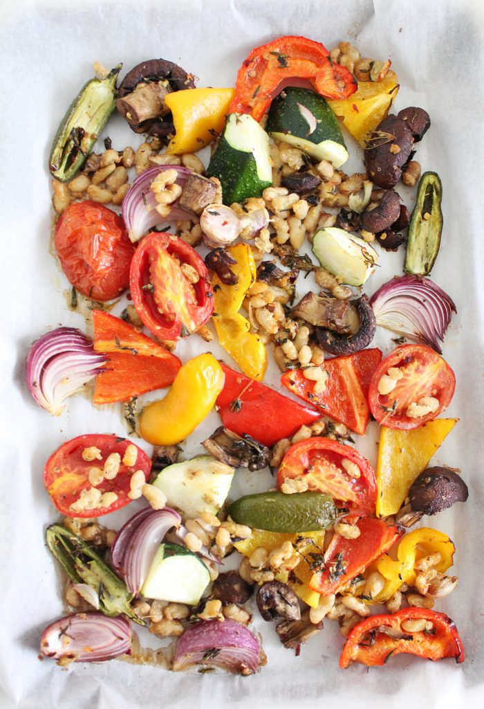Roasted Summer Potluck Veggies with White Beans