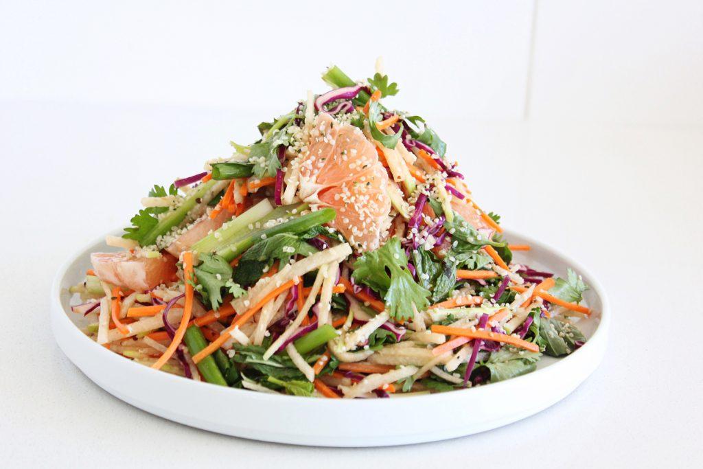 Crunchy Vietnamese Jicama & Cabbage Salad with Grapefruit and Fresh Herbs