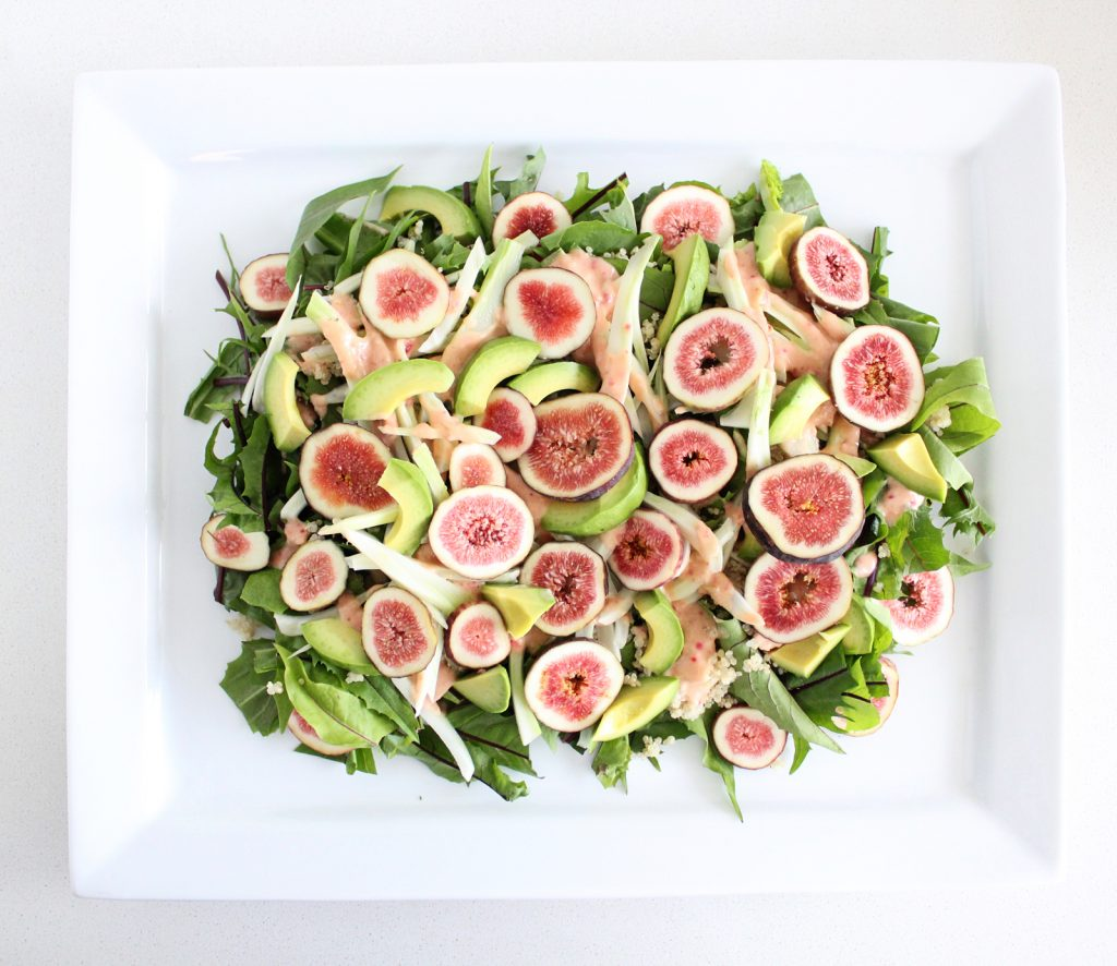 Dandelion Greens Salad with Fresh Figs and Fennel