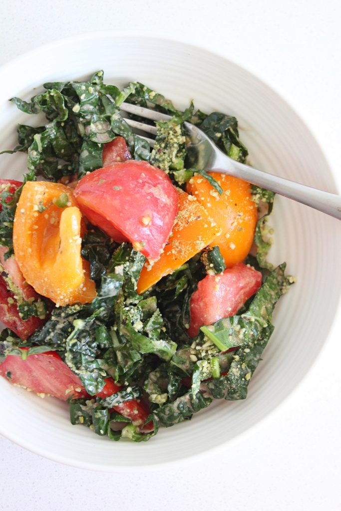 Tomato & Kale Salad with Garlicky Caper Dressing