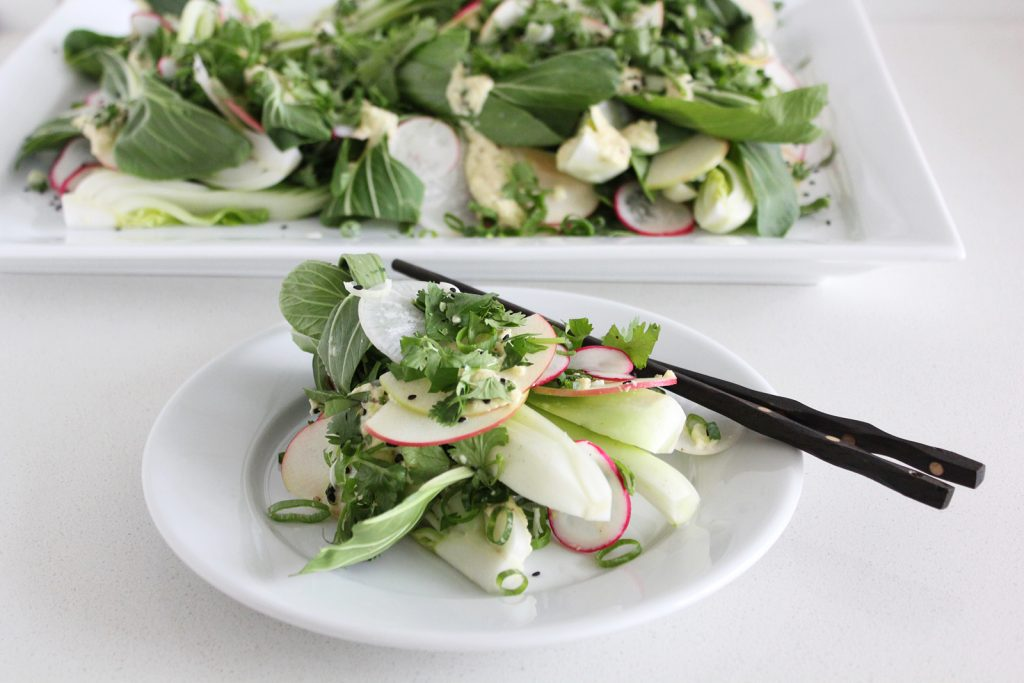 Fresh Bok Choy Salad with Apple Sesame Dressing